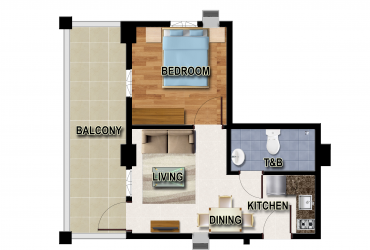 View One Bedroom Unit B floor plan