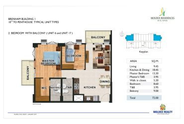 View 2 Bedroom w/ Balcony floor plan