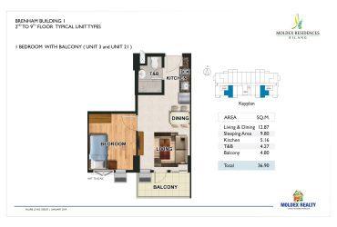 View 1 Bedroom w/ Balcony floor plan
