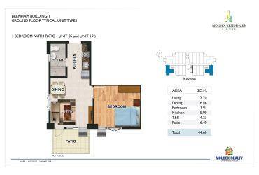 View 1 Bedroom w/ Patio floor plan