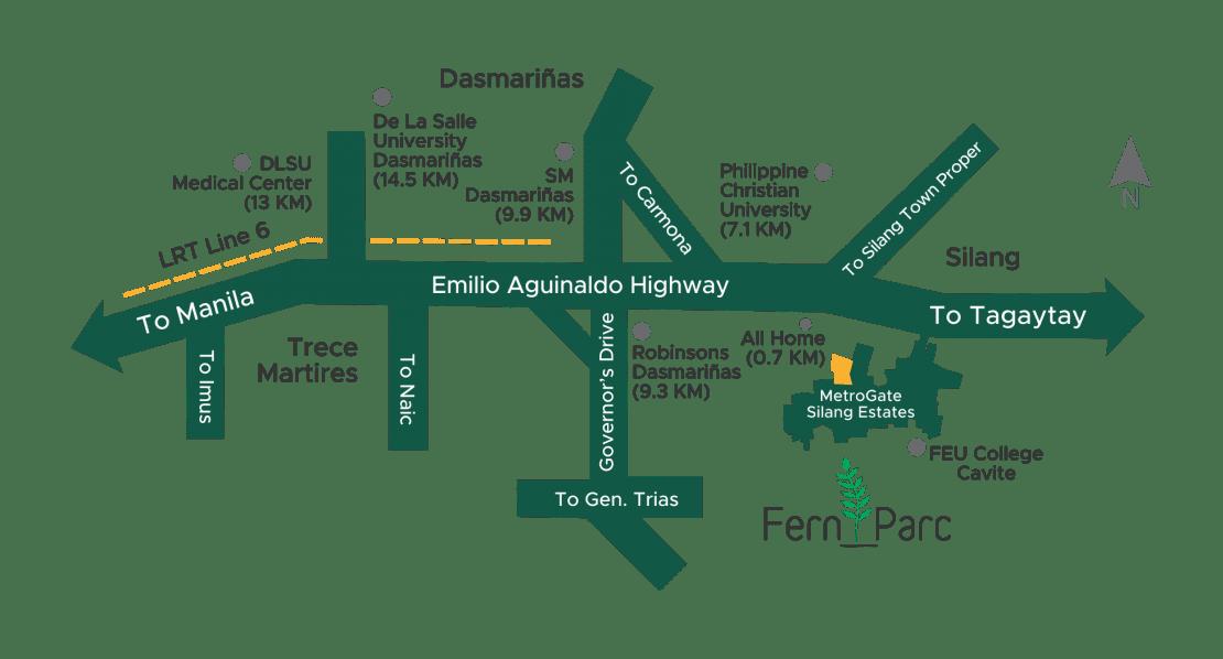 Vicinity Map Fern Parc at MetroGate Silang Estates