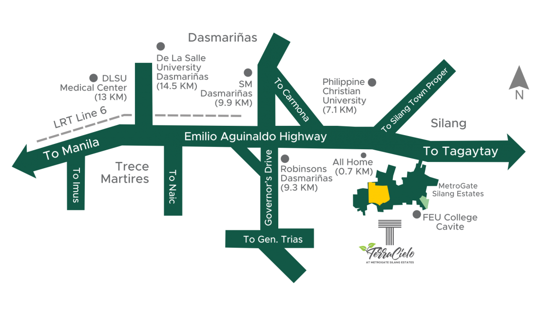 Vicinity Map Terra Cielo at MetroGate Silang Estates