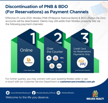 Important Advisory: Discontinuation of PNB & BDO (For Reservations) as Payment Channels